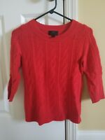 EUC J Crew Red Cashmere Cableknit Sweater, Size XXS