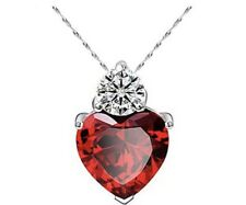 Silver Plated Red Garnet Heart Crystal Pendant Necklace Gift New