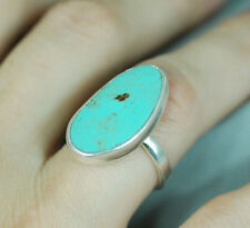 NOS Vtg Royston Blue Turquoise Sterling Silver Cocktail Cabochon Ring sz 7 - 7ct