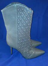 Nine West Women's Gray Leather Studded Heel Boots Sz 8.5M