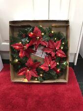 Christmas Door Wreath 56cm Pointsetia Wreath Pre Lit Battery Operated