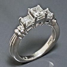 Solid Platinum 3 Stone Princess 1.32 cttw Diamond Wedding Engagement Estate Ring