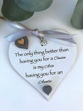 Personalised Cousin Auntie Heart Keepsake Gift Sign Plaque P231