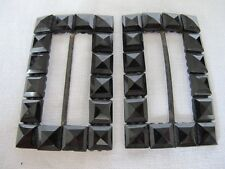 ANTIQUE VICTORIAN STEEL & FRENCH JET BLACK GLASS MOUNTED SHOE BUCKLES c1890