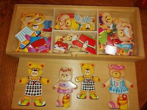 BIG JIGS WOODEN TEDDY BEAR DRESS UP FAMILY MATCHING GAME PUZZLE