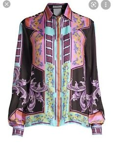 versace collection Long Sleeve Silk Button Up Shirt Size 42 RRP $750