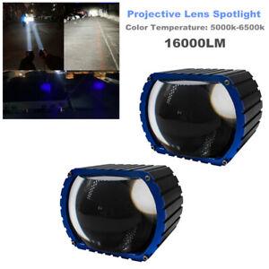 2PCS 16000LM LED Car High Beam Projective Lens Headlight Fog Lamp Spotlight 35W