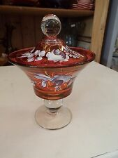 FENTON MARY GREGORY ART GLASS HAND PAINTED FLORAL CRANBERRY COMPOTE CANDY DISH N