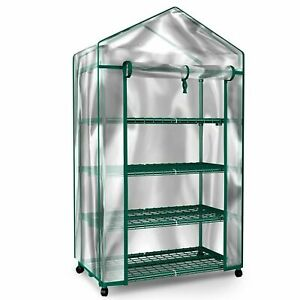 Green House Locking Wheels 4 Shelves w Cover Indoor Outdoor Portable Greenhouse