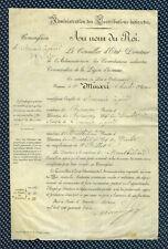 -= Contributions indirectes - Nomination d'un commis à pied s/vélin - 1843 =-