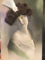 RPPC novelty Real Hair Postcard Art Deco  Pretty Woman VTG Post Card BEAUTIFUL