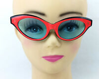 Vintage Cat Eye Sunglasses Unusual Red Frame & blue Lens France 1950s NOS 50's