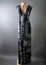 Black Beach Tie Dye Boho Goddess Low Deep V Neck Empire Waist Long Maxi Dress S