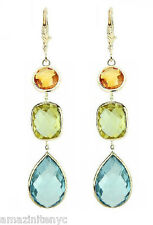 14K Yellow Gold Earrings With Citrine, Blue And Lemon Topaz Gemstones