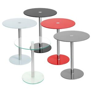 PODIUM ROUND GLASS CONTEMPORARY SIDE TABLE - WHITE, BLACK, GREY AND CLEAR