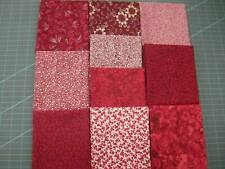 10 fat quarters, No Duplicates. 100% Cotton Assorted Dark Reds Quilting Fabric.