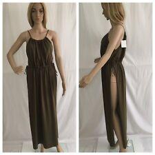 ZARA KHAKI LONG STRAPPY GATHERED NECKLINE TUNIC DRESS WITH SIDE SLITS SIZE M