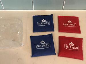 New set of 4 Cornhole Bean Baga Sleeman Red & Blue