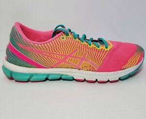 Asics GEL LYTE 33 Womens Pink Aqua Yellow Athletic Running Shoes Size 11