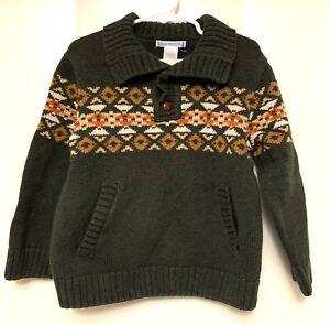 Janie and Jack Boys Size 4 Fair Isle Green Nordic Sweater Knit Shawl Collar
