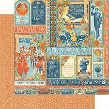 5p Graphic 45 World's Fair Collection Scrapbook Paper Wonder Works 4501169