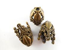 Antique Brass Plated Large Decorative Filigree Tassle Pendant Beadcaps Q4