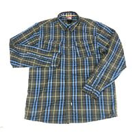 The North Face Mens Size M Gray Blue Plaid Snap Long Sleeve Flannel Shirt