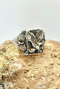 Men's Sterling Silver Black Hills Gold Eagle Ring 11