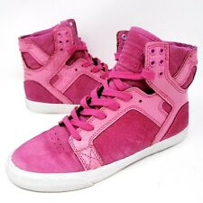 Supra Muska 001 Women's Hi Top Sneakers Sz 8 Pink Suede Athletic Shoes