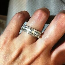 New 18K White Gold 1.22ct Genuine Natural VS Baguette Diamond Band Ring VIDEO