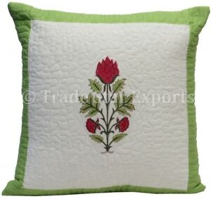 Ethnic Block Print Quilted Pillow Case 16x16 Handmade Square Throw Cushion Cover