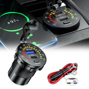 QC3.0 +PD Dual USB Car Fast Charger Socket Power Outlet LED Voltmeter Waterproof