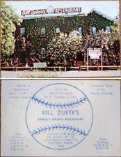 Baseball Player Bill Zuber's 1950s Amana Restaurant Advertising/Trade Card - IA