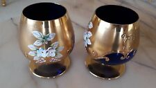 Two Moser Gilt & Hand Painted Brandy Glasses Bohemian Czech Snifters