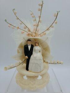 Vintage 1950s Bride & Groom Wedding Cake Topper Bell White Plastic Tulle Flowers