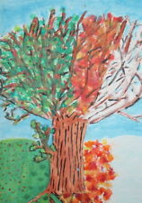 VINTAGE  FAUVIST GOUACHE PAINTING TREE SIGNED