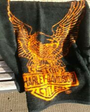 "Harley Davidson Fleece Throw 50"" x 60"" Orange & Black Eagle Emblem"