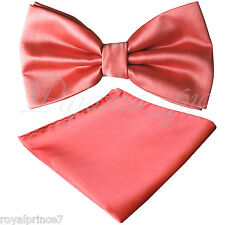 New Men Coral Butterfly Bow tie And Handkerchief Set Wedding Prom BT100FF