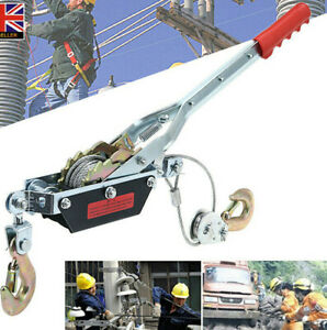 2Ton hand winch wire rope Cable Puller  hook  for caravan boat trailer lifting