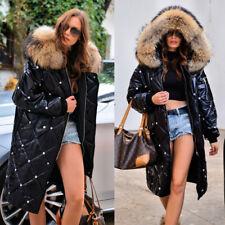 Roiii Winter Women Black Brown Faux Fur Down Hooded Warm Parka Size S