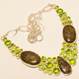 """Russian Eudialyte Jasper & Peridot 925 Sterling Silver Necklace 16-18"""" T8681"""