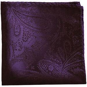 New Men's Polyester Woven pocket square hankie only Dark Purple paisley wedding