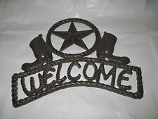 Rustic Cast Iron Welcome Sign With Star And Cowboy Boots Western Decor Plaque