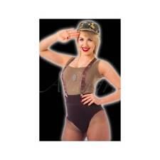 Instant Army Kit Hat Braces & Dog Tag Cap Ladies Military Fancy Dress Costume