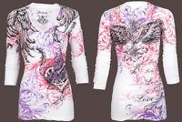 Archaic AFFLICTION Womens LS T-Shirt MI AMORE Tattoo Biker Sinful S-XL $58 a