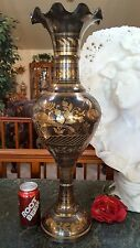 "FAB 24""T Brass Vase Urn RUFFLED Rim EGRET BIRDS HAND ENGRAVED on Black!"