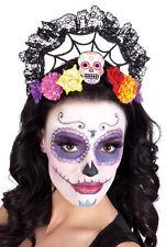 Ladies Mexican Day Of The Dead Calavera Crown Headdress Skull Día de Muertos
