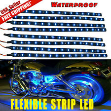8x BLUE Waterproof 15 LED 30cm Car Lighting Flexible Strip Decorative Light Lamp