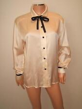 ESCADA 34 Medium SEXY Black Silk SATIN Ribbon Ivory VTG  80's Blouse Shirt Top
