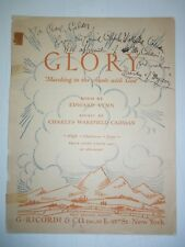 1930 GLORY Sheet Music SIGNED by CHARLES WAKEFIELD CADMAN Autographed